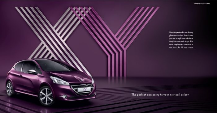 Peugeot 208 XY launches with nail wrap tip-on in top fashion titles