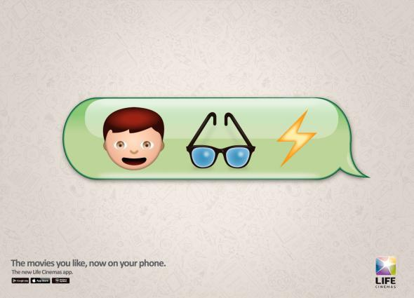If film titles were written using emojis: Harry Potter, Life of Pi, Finding Nemo and Ted