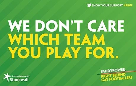Paddy Power ties with Stonewall to support gay footballers