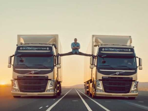 Jean-Claude Van Damme does the splits between two Volvo Trucks in latest ad for 'Stunt' campaign