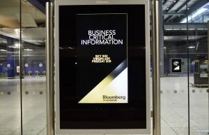 Bloomberg TV adverts on the Heathrow Express Terminal 5 platform