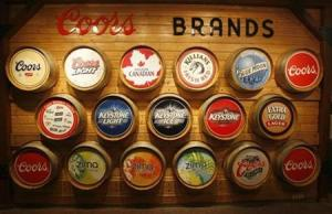 The Coors brands are displayed at the Coors brewery in Golden, Colorado