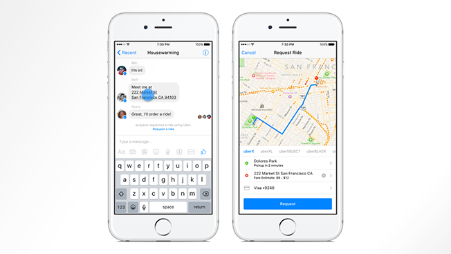 Now You Can Hail an Uber Ride From Facebook Messenger