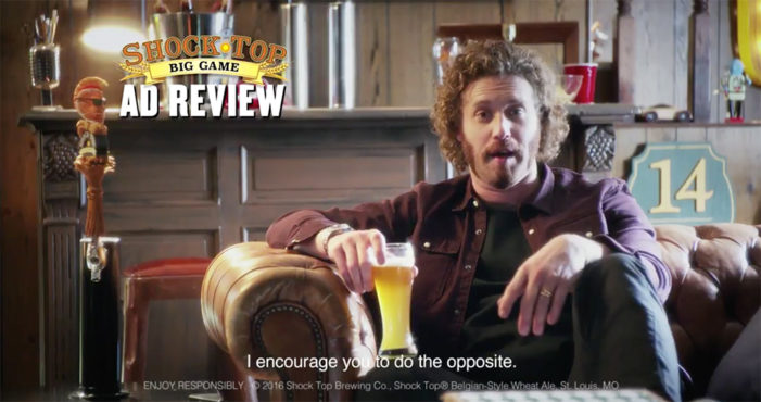 TJ Miller and Shock Top's mascot Wedgehead Review Top Super Bowl Ads