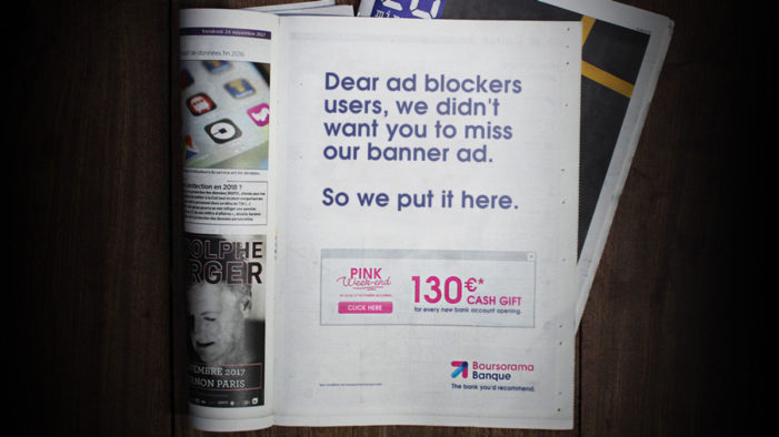 Boursorama Bank prints banner ads in a press campaign to counter ad blockers