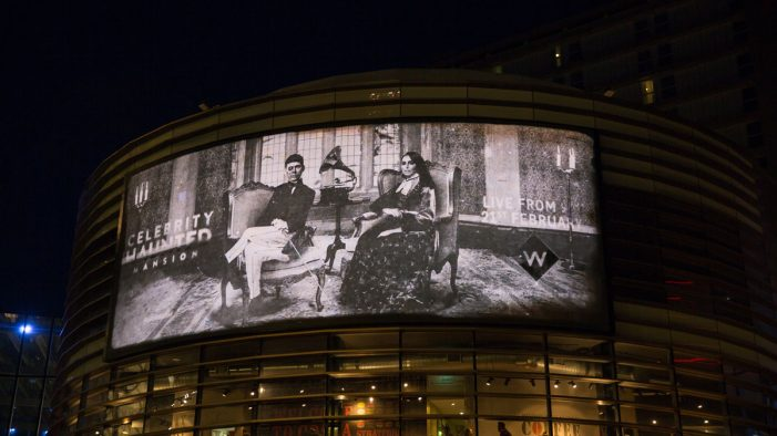 UKTV's 'after-dark' billboard haunts the public ahead of Celebrity Haunted Mansion launching on W