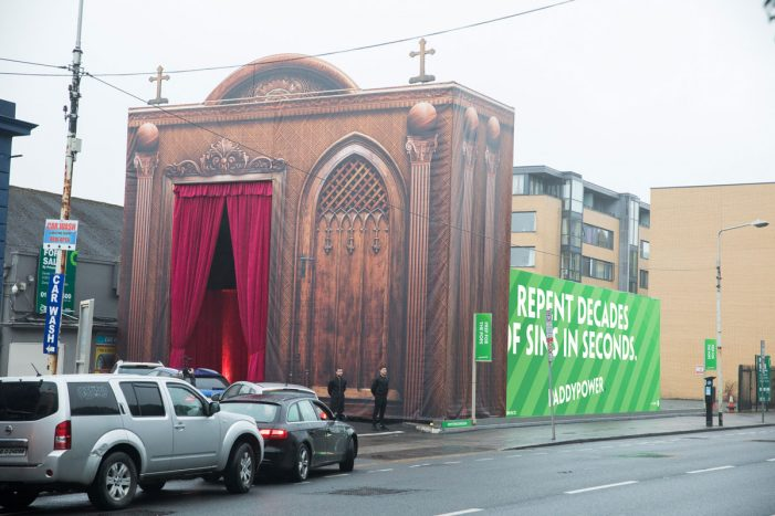 Paddy Power erects giant drive-thru confession box to prepare Ireland for Pope's visit