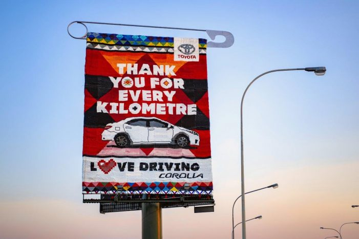 Toyota and FCB Joburg create beaded billboard as Corolla love letter