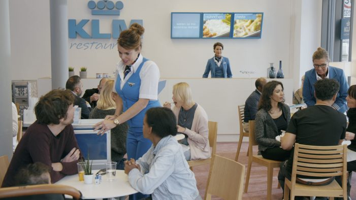 KLM turned into a restaurant, a bank and a radio station to let Germany know they are in fact an airline