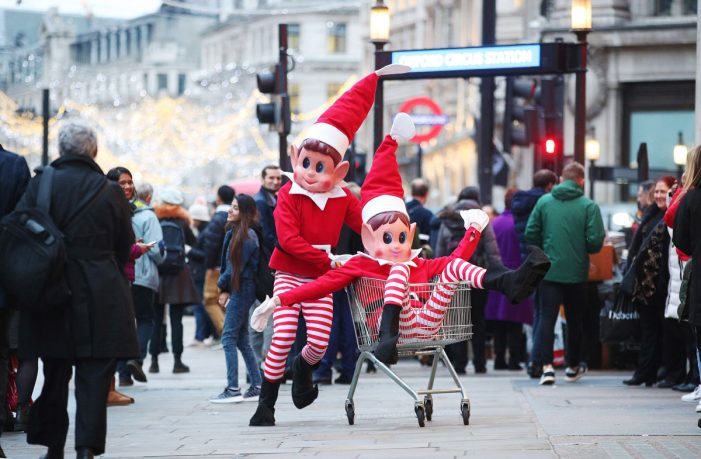Two giant elves cause uproar in London in latest marketing stunt from Elves Behavin' Badly