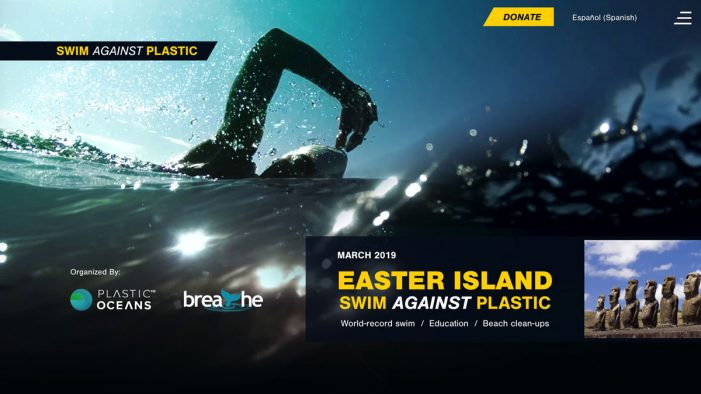 "Crowd joins the fight in the ""Swim Against Plastic"" campaign"