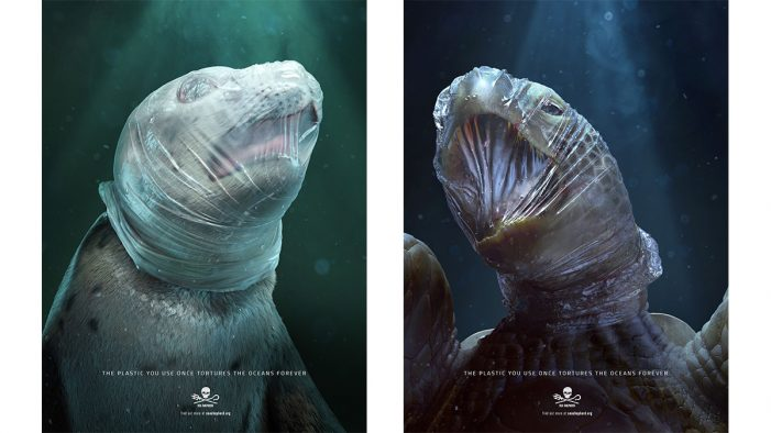 Sea Shepherd uses depictions of tortured animals to fight against plastic in the oceans