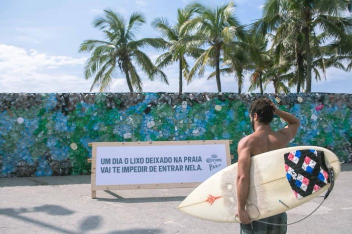 Corona Beer Blocks Ipanema Beach with Giant Wall Made of Plastic Waste