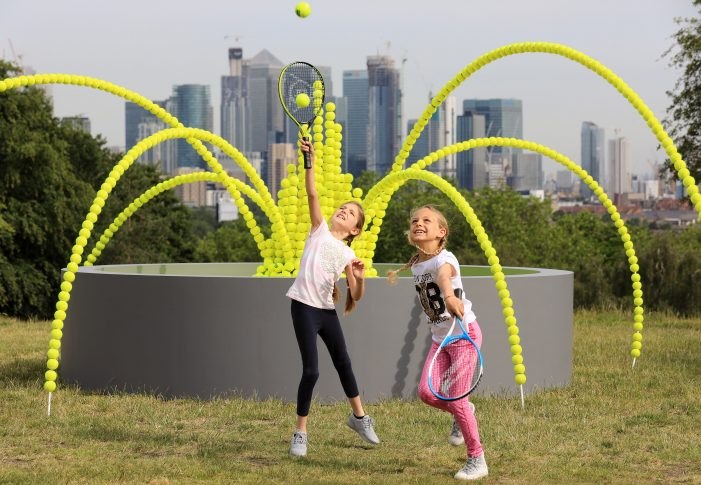 A fountain of tennis balls in Greenwich Park highlights how clean water could save thousands of lives a day
