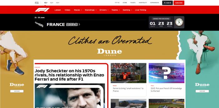 Inskin Media wins global advertising partnership with Formula 1