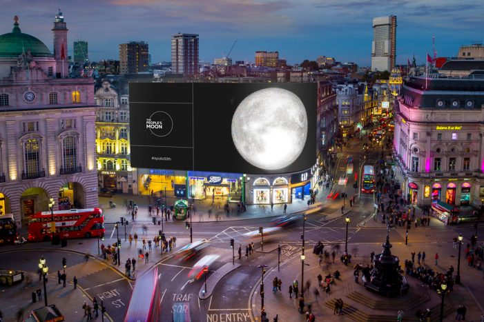 The People's Moon and Ocean Outdoor mark the 50th anniversary of the first moon landing on the Piccadilly Lights