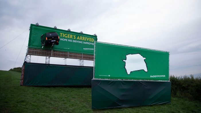 Paddy Power mocks Tiger Woods ahead of the British Open with massive billboard… and a familiar car