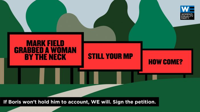 Women's Equality Party runs Three Billboards-inspired campaign to highlight behaviour of MP Mark Field