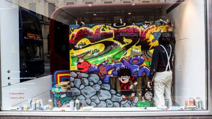 """Beano unveils bespoke street art in Fleet Street by mysterious graffiti artist """"Sleek"""""""
