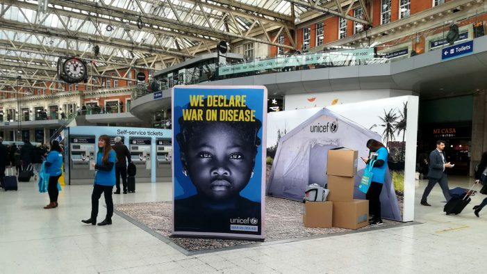 Unicef launch #WarOnDisease awareness campaign at Waterloo station