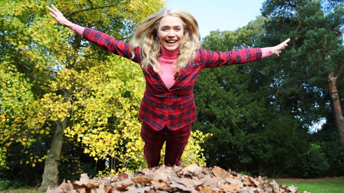 Supermodel Jodie Kidd models Boden Autumn collection and launches new 'sport' of Leaf Jumping