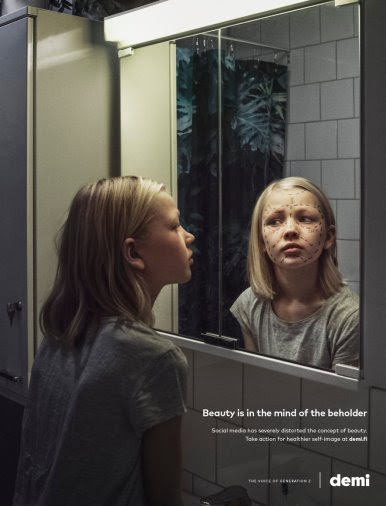 Finnish youth magazine ads dramatize social media's influence on children's self-image