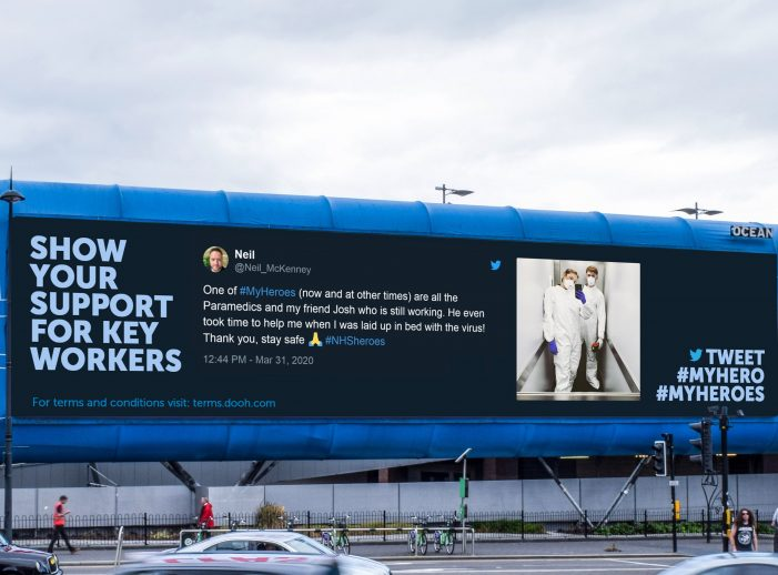 Kinetic and DOOH.com partner with OOH media owners on #MyHeroes to deliver  messages of gratitude to individual key workers on digital screens across the UK.