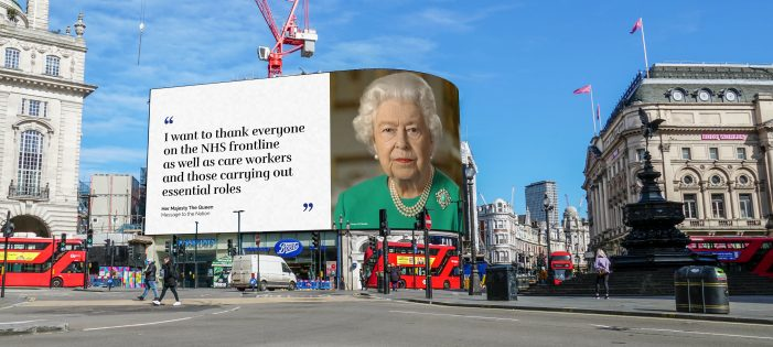 Excerpts from The Queen's Message to the Nation appear on the world famous Piccadilly Lights in London