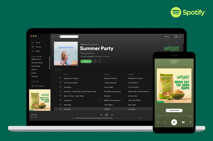 Spotify Summer Takeover By Late July Snacks Brand