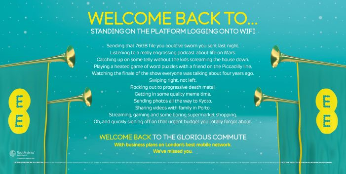 """EE welcomes business customers back to the """"glorious commute"""" in new out-of-home push from NOW"""
