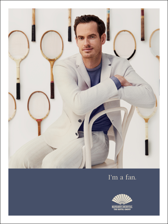 London Advertising Launches Andy Murray As Mandarin Oriental's Latest Celebrity Fan As He Returns To Wimbledon